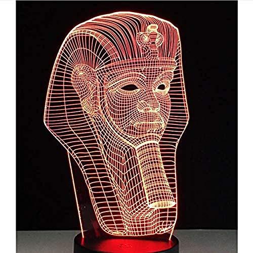 Egypte Anubis 3D lamp lamp lamp illusie kleurverandering tafellamp met zwarte touch base decoratie nachtlampje