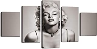 Vintage Marilyn Monroe Painting on Canvas Retro Black White Wall Art Artwork 5 Panel Multi Piece Posters and Printed Picture for Living Room Giclee Home Decoration Framed Ready to Hang(60''Wx32''H)