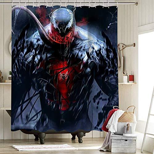 Vengadores 4 cortinas de ducha para baño de servicio impermeable cortina de ducha forro anti el superhéroe Agente Venom Spiderman es feroz y malvado 72 x 72 pulgadas