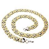 W&W Lifetime 11mm Acero Inoxidable Dorado y Plateado bizantino Cadena Collar para Hombre, Mujer, 22–40Pulgadas