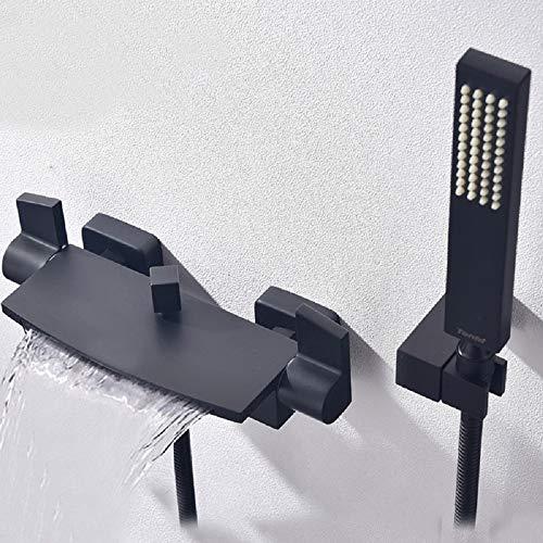 WAZA Wasserfall Set Badewannenarmatur mit Handbrause Schlauch und Halterung Kaltes und Warmes Wasser Schwarz Moderner Stil für Badewanne und Dusche
