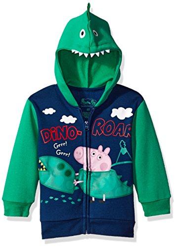 Peppa Pig Toddler Zip Up Hoodie Character Costume Baby Boy George, Navy, 4T