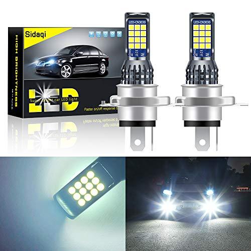 Sidaqi 2 piezas brillantes H4 7.2 W bombillas de luz antiniebla LED para coche 2835 24 SMD para luz de circulación diurna DRL luces antiniebla 12V (blanco)