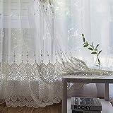 PENVEAT - Cortinas de Tul Bordadas para salón, Color Blanco, 350 cm de Ancho x...