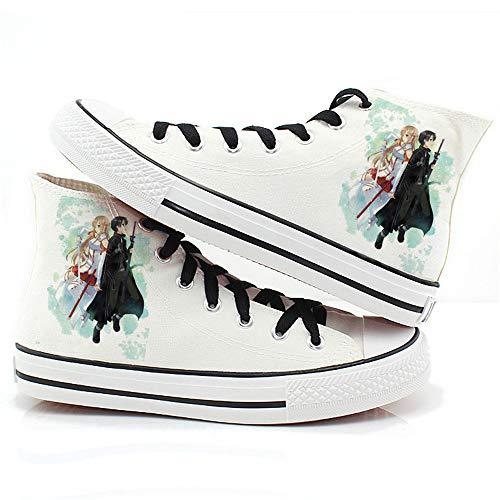 XYUANG Sword Art Online Kirito/Yuuki Asunam Anime Schuhe Manga Cosplay Leinwand Schuhe Turnschuhe Fitness Athletic Sneakers für Frauen Männer D-36