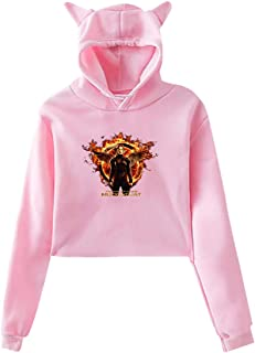Womens The Hunger Games Mockingjay Moive Umbilicus with Hood Cat Ear Long Sleeve Fashion Sweater Black