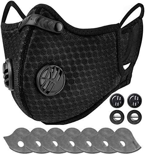 AstroAI Staubschutzmaske mit 7 6-Schiechten Filtern & 4 Atemventile, Wiederverwendbare Nasenschutz Mundschutz Maske Schutzmaske für Laufen, Radfahren und Aktivitäten im Freien, Schwarz