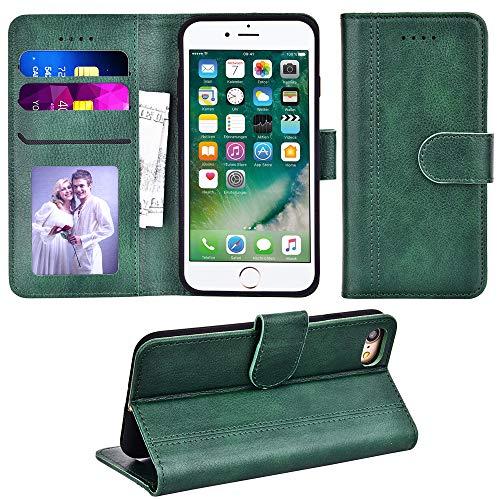 Adicase Handyhülle für iPhone 7, Premium Leder Hülle Flip Case Cover Schutzhülle für Apple iPhone 7/8/SE 2020 4,7 Zoll Tasche (Grün)