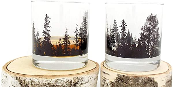 Whiskey Glasses Forest Landscape Set Of Two Heavy Base Rock Glasses Whiskey Glass Set