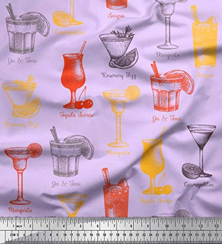 Soimoi Lila Kunstseide Stoff Tequila Sunrise, Margarita & Rosmarin Fizz Getränke Getränke Drucken Nahen Stoff 1 Meter 56 Zoll breit