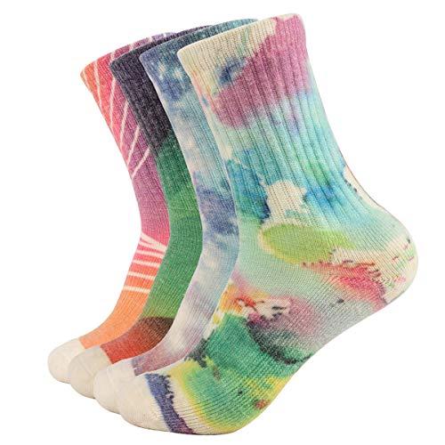 EnerWear 4 Pack Women's Merino Wool Outdoor Hiking Trail Crew Sock (US 9-11, Cloud/Sky/Geometry)