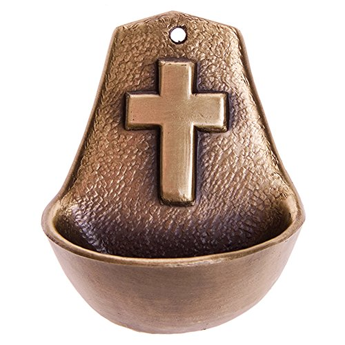 Motivationsgeschenke Weihwasserkessel Kreuz 8,5 cm Metall bronziert Weihwasserbecken