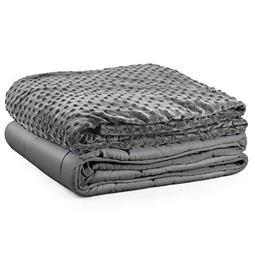 Premium Kids Weighted Blanket & Removable Cover-Dulcii 7 lbs Grey Weighted Blanket with Dotted Minky Duvet Cover|for a Child 55-90 lbs| 41 x60 inch |Cotton/Minky