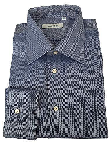 SONRISA Camicia Uomo Tessuto spinato 100% Cotone Made in Italy (44-17 1/2)