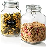 Bormioli Rocco Glass Fido Jars - 101½ Ounce (3 Liter) with hermetically Sealed hinged Airtight lid for Fermenting, Preserving, Bulk - dry Food Storage, With Paksh Novelty Chalkboard Label Set (2 Pack)