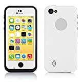 Jinshangyixiu Case Waterproof Case Cover Dirtproof Snowproof Shockproof Skin Hard Phone Shell with Rugged Protection for Apple iPhone 5c-White