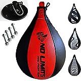 AQF Pera Boxeo de Cuero y Saco Boxe Punching Ball para MMA Conjunto de Entrenamiento con Pera de Boxeo