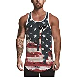 4th of July Tank Tops for Men,Funny Cool Muscle Tees Casual American Flag Print Patriotic Tops