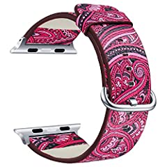 【Stylish Delicate and Elegant Looking】New version custom designed for your precious Apple Watch Series 4 and Series 3/2/1, this fabric canvas sport Apple Watch Band features a combination of functionality and fashion style. 【Perfect Compatibility】Per...