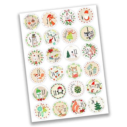 Papierdrachen 24 Adesivi con Numeri per Il Calendario dell'Avvento Immagini Divertenti n. 22 - Adesivi - per Creare e Decorare