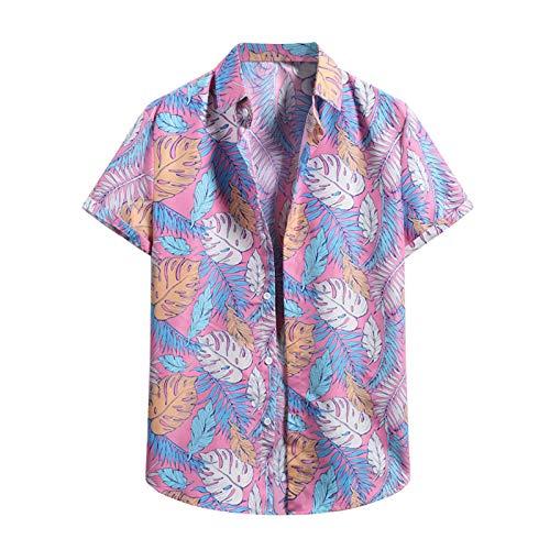 Men's Fashion Casual Blouse,Men's Cardigan Button Down Short Sleeve Hawaiian Beach Flower Shirt Men's Turtleneck Shirt