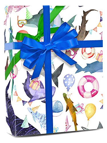 Product Image 2: Colors of Rainbow – Shark Party – Gift Wrap Paper, 2.5 Feet x 10 Feet, Folded Flat, Not Rolled – Shark Party