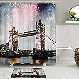 LISNIANY Conjunto De Ducha Cortina Alfombra,Tower Bridge con celebración de Fuegos Artificiales del año Nuevo en la casa de Londres, Reino Unido,Uso en baño, Hotel