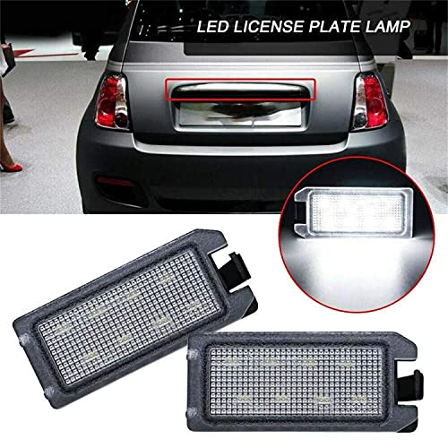 2pcs White LED License Plate Lights compatible with F/iat 500c D/odge Viper J/eep Grand Cherokee/Compass
