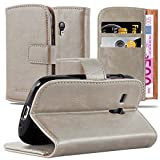 Cadorabo Book Case Compatible with Samsung Galaxy S3 Mini in Cappuccino Brown - with Magnetic Closure, Stand Function and Card Slot - Wallet Etui Cover Pouch PU Leather Flip