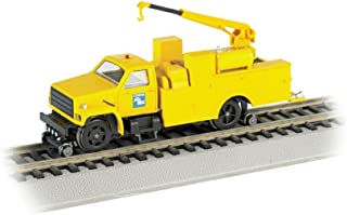 Bachmann Industries Maintenance of Way Hi Rail Equipment Truck with Crane DCC Equipped Conrail Train, Yellow, HO Scale