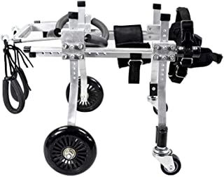 4輪ペット車椅子、ペット後肢保護ブラケット、後肢リハビリテーション車椅子4輪ベルト、大型の子猫に適した、後肢トレーニング、修理(黒XXS〜XXL)(サイズ:L)