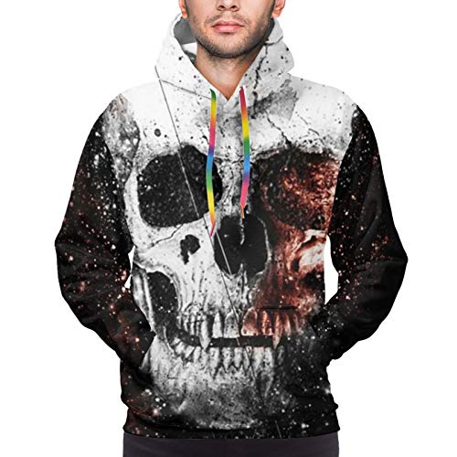 Hoodies with Pocket for Hiking Exercise Yoga, Men & Boys Skull Space Pullover Sweatshirt, Fit Drawstring Sportswear