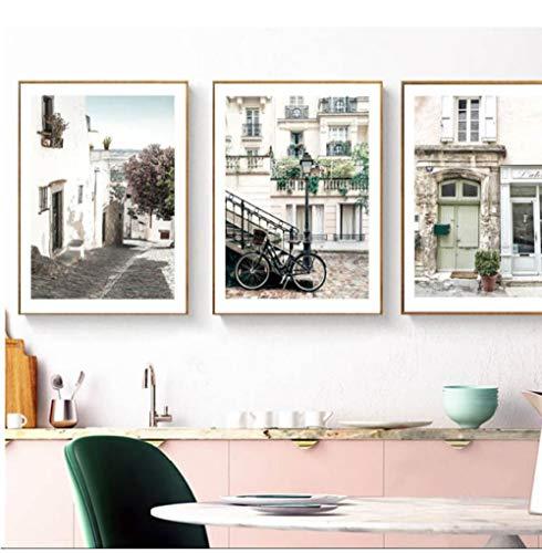 Fiets Holland Poster Modern Huis Landschap Canvas Kunst Posters en Prints Canvas Schilderij Afbeelding Unframed 50 * 70cm