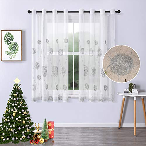 MRTREES Voile Vorhänge halbtransparent Vorhang kurz im Blumen Stickerei Modernen Wohnstil Sheer Gardinen Grau 160×140cm (H × B) für Wohnzimmer Schlafzimmer Kinderzimmer 2er- Set