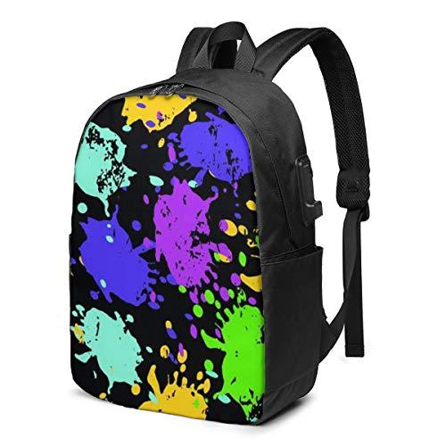 Colored Spots Graffiti Beautiful School Backpack Teen Girls and Boys Bookbag School Bag College Laptop Backpack with USB Charging Port Travel Rucksack