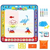 Fansteck Water Doodle Mat, Large Water Drawing Mat 40X40 inch, No Mess Aqua Magic Doodle Mat with 24 Accessories, Colorful Educational Toy for Toddlers, Boys, Girls Age of 3 4 5 6 7 8
