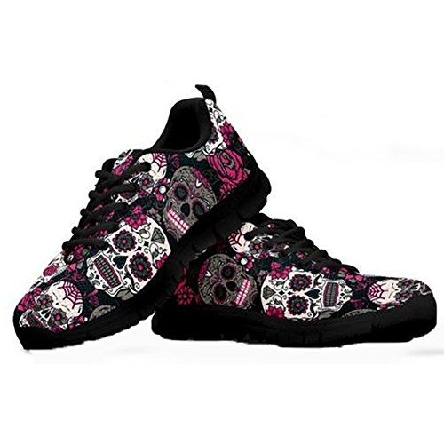 HUGS IDEA Sugar Floral Skull Print Laufschuhe für Damen Jogging Leichtes Leichtes Gehen Lässig Komfort Sportschuhe - EU 41