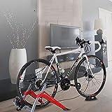 Indoor Bike Trainer Trainer cubierta magnética Eexercise soporte de la bicicleta 6 Niveles resistencias magnéticas w / liberación rápida y la rueda delantera de la canalización vertical del bloque,Red