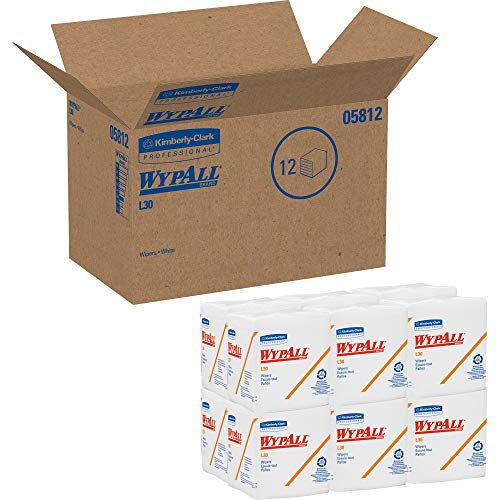 Wypall L30 DRC Towels (05812), Strong and Soft Wipes, White, 12 Packs / Case, 90 Towels / Pack