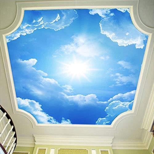 3D Wandbilder Tapete Landschaft Blauer Himmel Und Weiße Wolken Deckentapete Natürliche Wandbilder Benutzerdefinierte Schlafzimmer Tapeten,400 * 280Cm