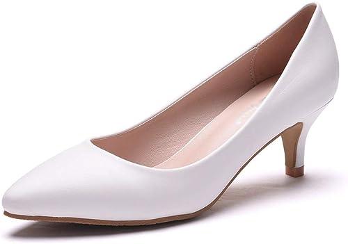 zapatos de boda 5cm Hauszapatos individuales zapatos de tacón bajo para damas zapatos de moda con boca baja Destacados Tacones altos zapatos profesionales blancos zapatos de tacón mujer ( Talla   41 )