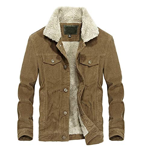 Chartou Men's Vintage Button-Front Sherpa Lined Shearling Slim Fit Corduroy Denim Jacket (Medium, Khaki-Fleece)