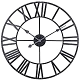 Decor Wall Clock, Vintage Country Distressed Metal Clock with Roman Numeral, Large Silent Battery Operated Wall Clock for Home, Farmhouse, Living Room, Kitchen (18-Inch, Black)