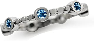 Genuine London Blue Topaz 925 Sterling Silver Stack Stackable Ring