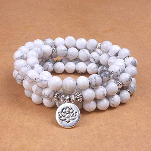 Mxdztu Co.,ltd Collar Pulsera De Mujer Cuentas De Howlita Blancas con Lotus Om Buddha Charm Yoga Pulsera De Hombre 108 Collar Mala