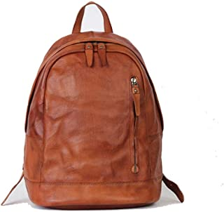 Mens Leather Bag Vintage Leather Backpack Backpack Leather Unisex Fashion Trend Leisure Travel Shopping Bag (Color : Brown, Size : S)