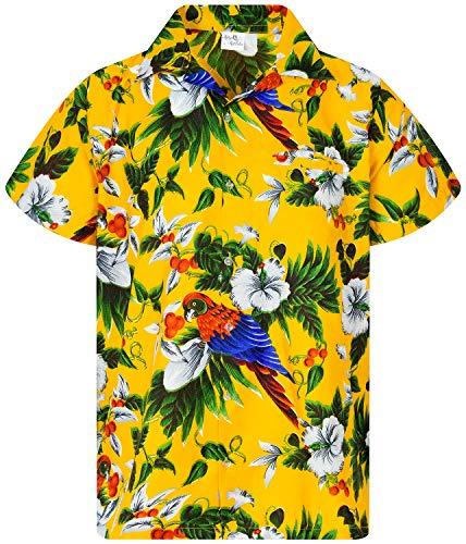 King Kameha Funky Hawaiihemd, Kurzarm, Cherryparrot New, Gelb, XL