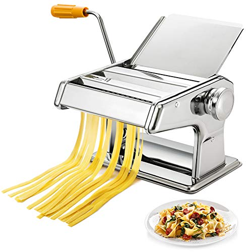 Greensen Nudelmaschine Pasta Maker Edelstahl Manuell Pasta Walze Maschine Cutter Hand Crank Noodle Maker, Noodles Cutter Spaghetti Maker, Pastamaschine Nudel Maschine mit Klemme