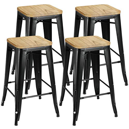 ZENY Set of 4 Metal Bar Stools 26' Counter Height with Wooden Seat Stackable Indoor/Outdoor Barstools, 330 lbs Capacity