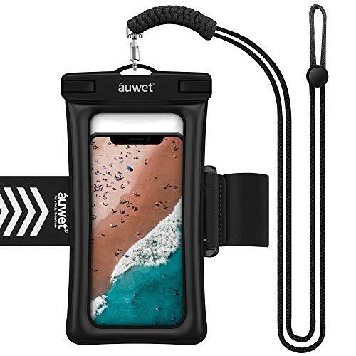 防水ケース スマホ用 Auwet【指紋認証・顔認証】アームバンド・ストラップ付き フローティングエアー搭載 IPX8認定 完全防水 携帯防水ケース 海水浴 お風呂 水中撮影 iPhone 11 Pro Max/11 Pro/XR/Xs Max/Xs/X・iPhone SE/11/8/7/Plus Android Xperia Galaxyなど6.5インチスマホまでに対応